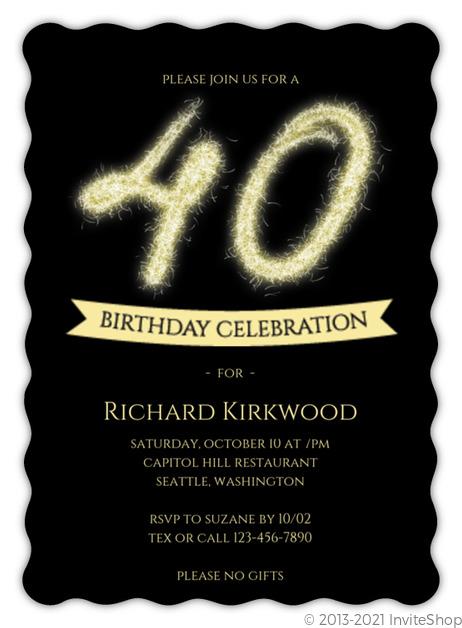 Firework Sparkler 40th Birthday Party Invitation Adult