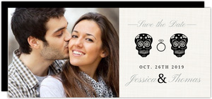 Skeleton Couple Cream Halloween Save the Date