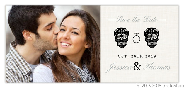Skeleton Couple Cream Halloween Save The Date Save The Date Cards