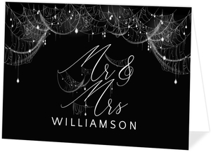 Elegant Spider Web Sparkles Halloween Wedding Thank You Card