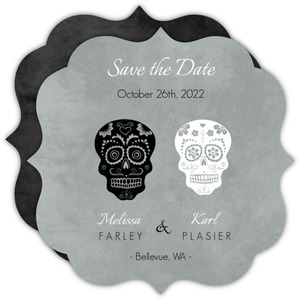 Gray Dressed Up Skulls Halloween Save the Date