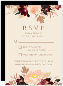 Faux Glitter Watercolor Foliage Response Card