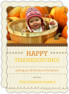 Classic Linen Thanksgiving Photo Invitation