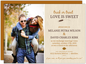 Fall Orange Brown Woodgrain Photo Halloween Wedding Invitation