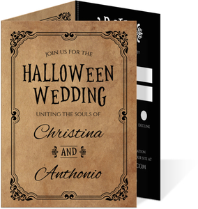 Rustic Elegant Black Halloween Wedding Invitation
