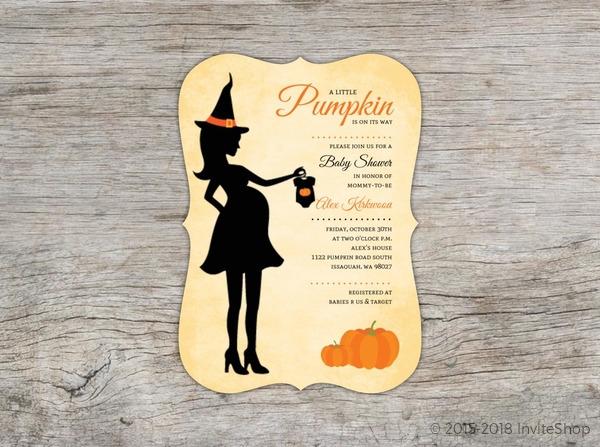 Witch silhouette pumpkin baby shower invitation baby shower witch silhouette pumpkin baby shower invitation filmwisefo