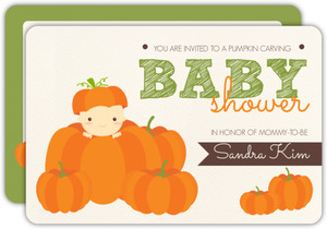 Cute Pumpkin Carving Baby Shower Invitation