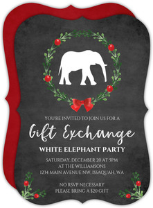 Chalkboard Festive Wreath White Elephant Party Invite