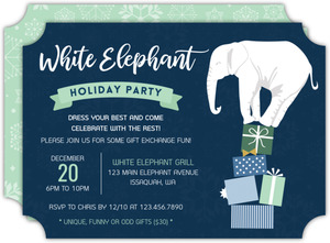 White Elephant Tower of Gifts Holiday Party Invitation