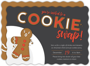 Gingerbread Crumbs Cookie Swap Holiday Party Invitation
