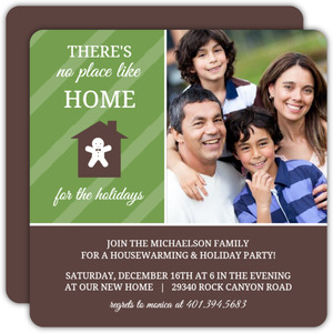 Green Stripes Holiday Housewarming Invitation