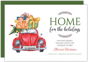 Rustic Red Beetle Holiday Moving Announcement