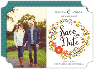 Fall Hues Wreath Save The Date Announcement