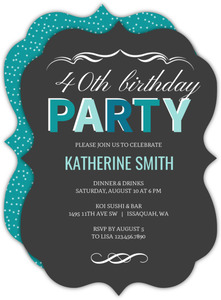 Turquoise 40th Birthday Party Invitation