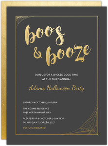Gold Boos and Booze Halloween Party Invitation