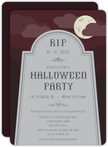 Tombstone on a Hill Halloween Party Invitation