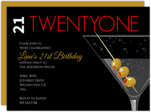 Martini With Olives 21st Birthday Invitation