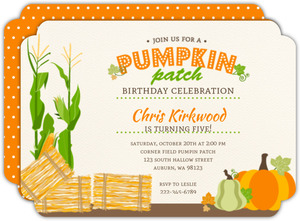 Pumpkin Patch Farm Halloween Birthday Invitation