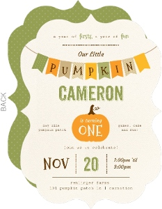 Modern Fall Banner Pumpkin Halloween Birthday Invitation