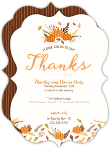 Whimsical Pumpkin Leave Pattern Thanksgiving Invitation