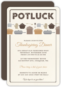 Pots And Pans Thanksgiving Portluck Invitation