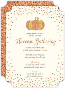 Whimsical Faux Glitter Confetti Thanksgiving Invitation