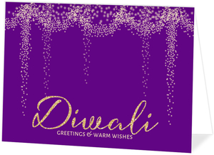 Purple Shimmering Lights Diwali Card