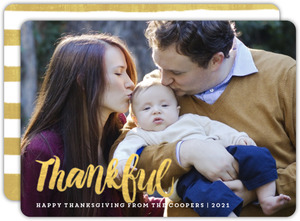 Thankful Gold Script Thanksgiving Photo Card