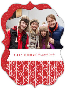Festive Red Arrow Pattern Holiday Photo Card