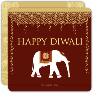Henna Inspired Elephant Diwali Card