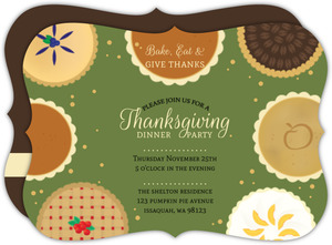 Bake, Eat & Give Thanks Thanksgiving Dinner Invitation