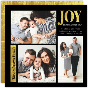 Modern Black Gold Photo Grid Holiday Card