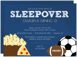 Boys Night Sports and Snacks Sleepover Party Invite