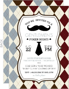 Argyle Pattern Poker Night Invitation