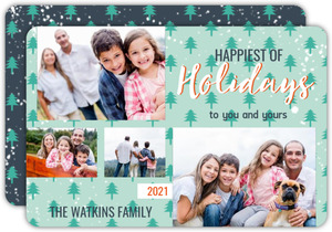Whimsy Tree Pattern Holiday Photo Card