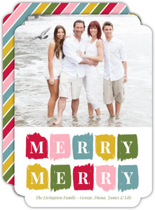 Painterly Brush Strokes Christmas Photo Card