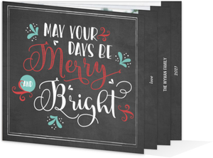Chalkboard Festive Typography Booklet Holiday Photo Card