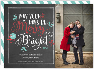 Chalkboard Vintage Typography Christmas Photo Card