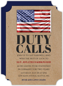 American Duty Calls Going Away Party Invitation