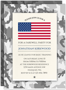 Military Camo Going Away Party Invitation