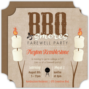 Smores And BBQ Going Away Party Invitation