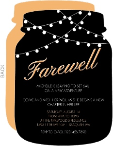 Orange Long Flight Farewell Party Invite