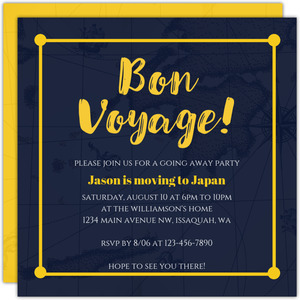 Bon Voyage Going Away Party Invitation