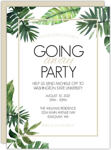 Tropical Summer Leaves Going Away Party Invitations
