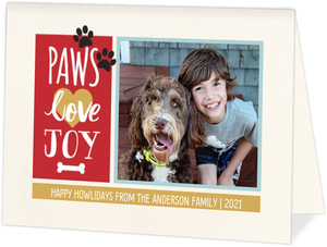 Paws Love Joy Holiday Pet Photo Card