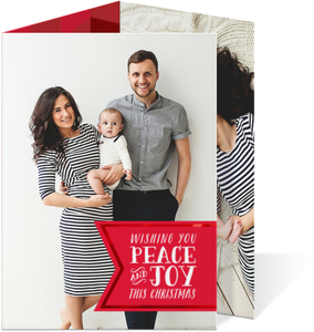 Peace and Joy Holiday Trifold Photo Card