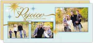 Glittering Rejoice Faux Foil Christmas Photo Card