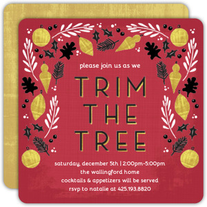 Faux Foil Trim the Tree Party Invitation