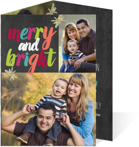 Colorful Merry and Bright Trifold Holiday Photo Card