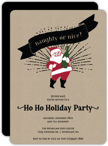 Champagne Santa Holiday Party Invitation